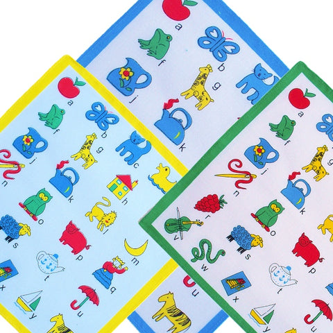 Childrens Hankies-Assorted Designs-100% Cotton