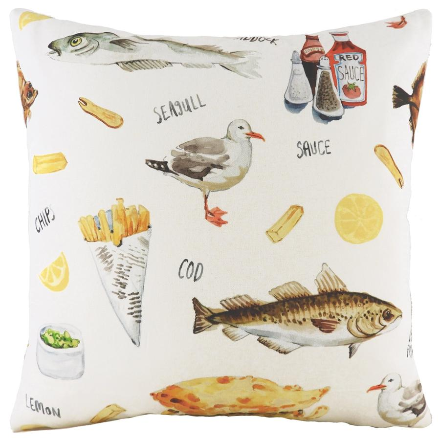 Cushion Cover-Fish and Chips-43cm x 43cm