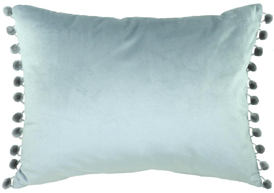 Cushion Cover-Royal Velvet Light Grey-Pom Pom Trim
