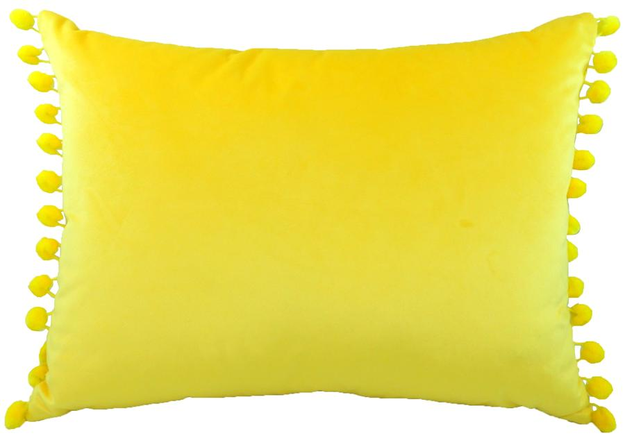 Cushion Cover-Royal Velvet Yellow-Pom Pom Trim