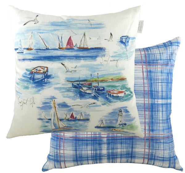 Cushion Cover-Sailing Design by Jennifer Rose-95% Cotton, 5% Linen