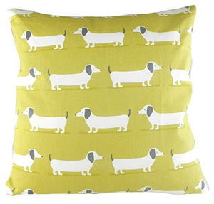 Cushion Cover-Hound Dog in Ochre-100% Cotton