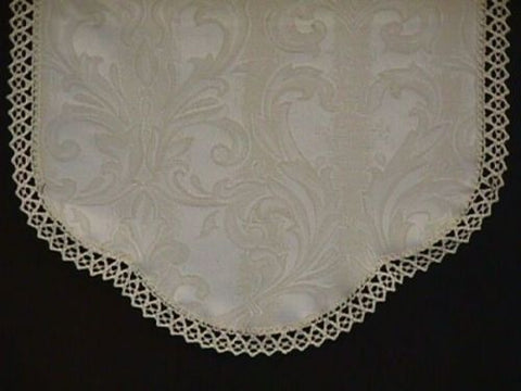 Rounded Antimacassar/Chair Backs-Arm Caps-Cotton Trim-Ivory