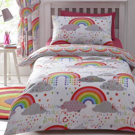 Kids Duvet Cover-Clouds and Rainbows