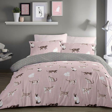 Cats-Duvet Cover Set in Blush-Reversible