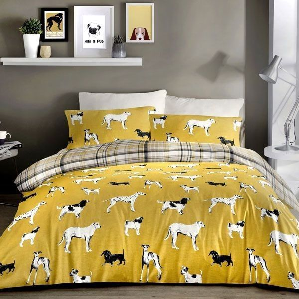 Duvet Cover-Dogs by JRosenthal-Colour Ochre