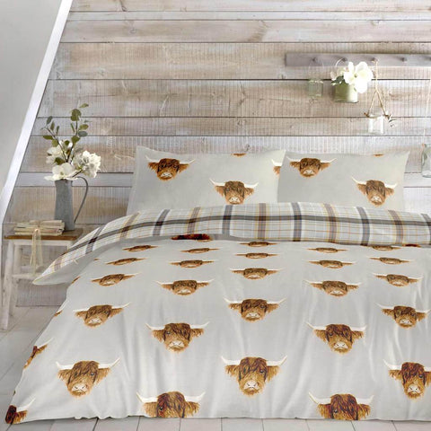 Highland Cow-Duvet Cover Set in Ochre-Reversible