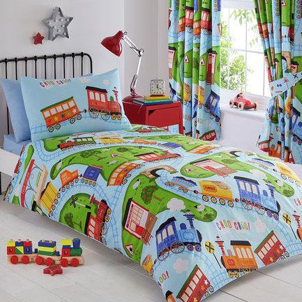 Kids Duvet Cover-Trains