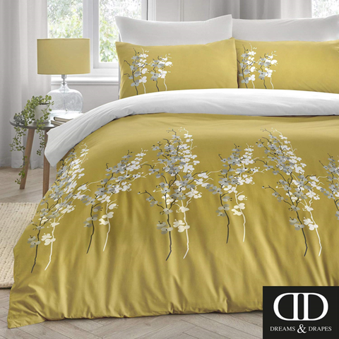 Dreams and Drapes-Oriental Flower-Duvet Cover in Ochre