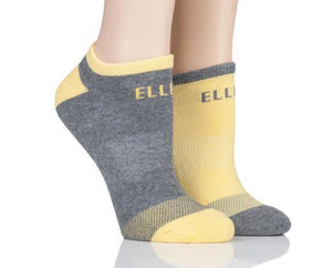 Elle-Ladies Cushioned Trainer Socks-2 Pair Pack