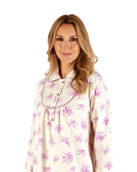 Slenderella-Nightdress-100% Brushed Cotton-Long Sleeves-ND66211