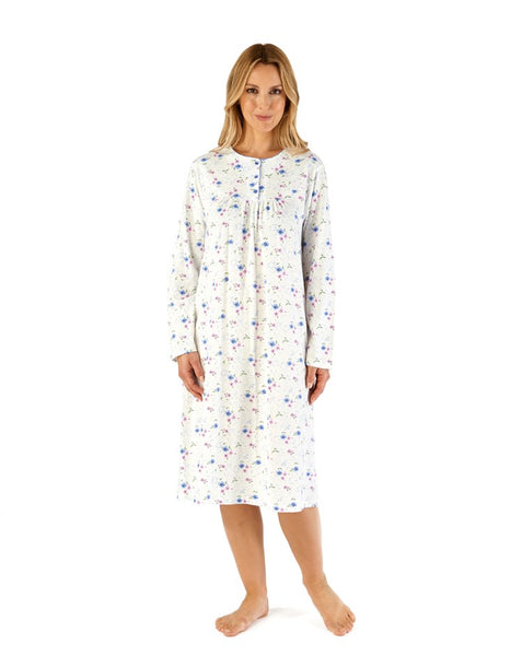 Slenderella-Nightdress-100% Cotton-42'' Length-Long Sleeves-ND66107