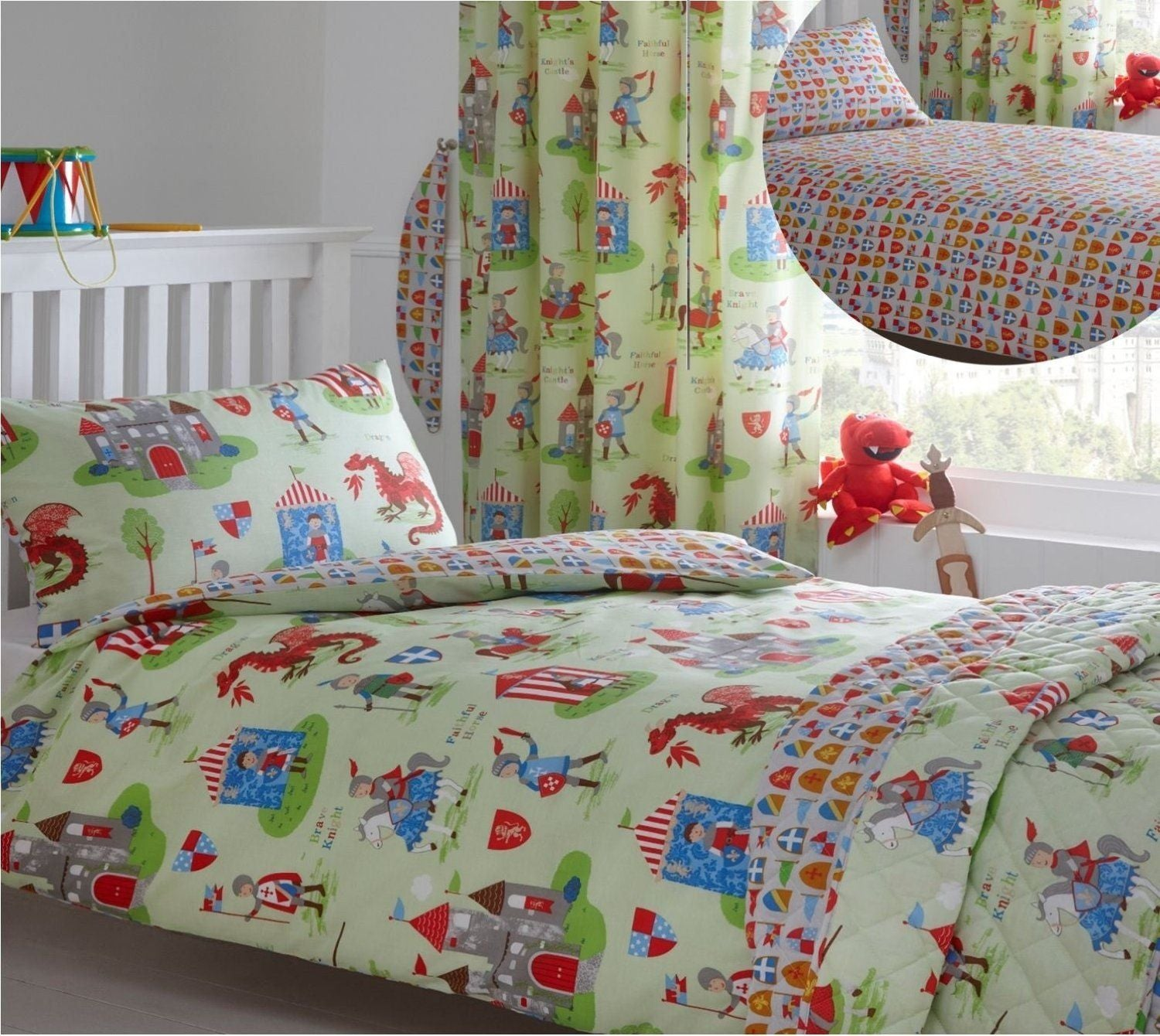 Kids Duvet Cover-Knights and Dragons
