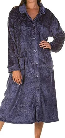 Ladies-Button Dressing Gown/Robe-Lady Olga 4074