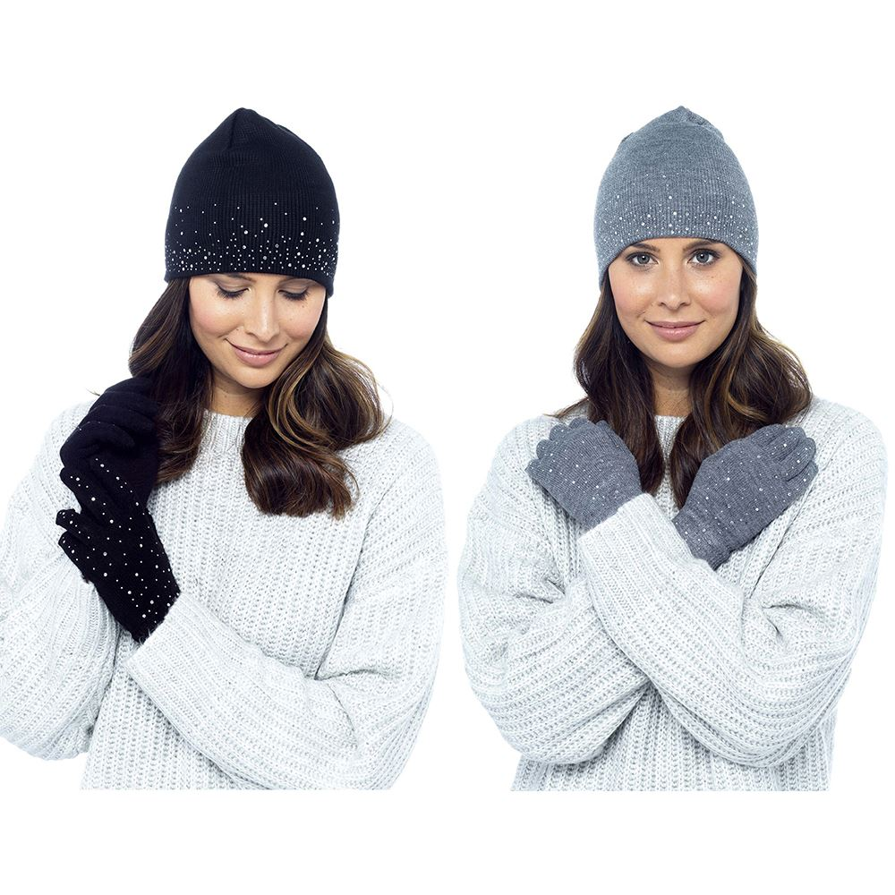 Ladies-Diamante Hat and Glove Set