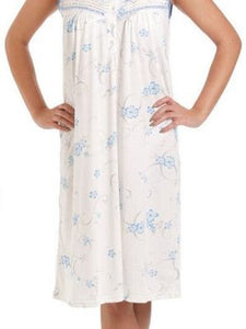 Ladies Jersey Cotton Nightdress-Lady Olga 0103-No-sleeve Nightie