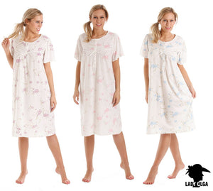 Ladies Short Sleeve-Jersey Cotton Nightdress-Lady Olga 0104