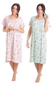 Ladies-Short Sleeve-Jersey Cotton Nightdress-25329