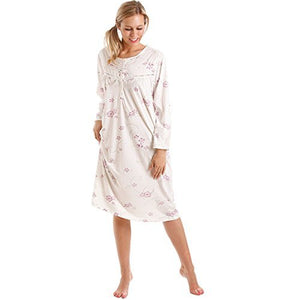 Ladies-Soft Jersey-Floral Nightdress-Lady Olga 8904-Long-Sleeve