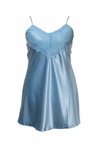 Ladies-Satin Nightdress-Knee Length-Pale Pink