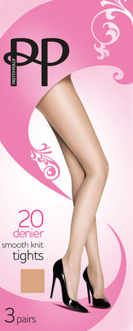 Pretty Polly-20 Denier-Ladies Smooth Knit Tights-3 Pair Pack
