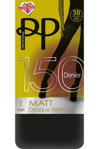 Pretty Polly-150 Denier-3D-Matt Opaque Tights-Black