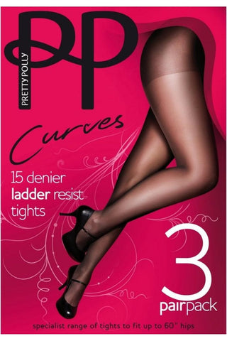 Pretty Polly-Ladies Curves Tights-3 Pair Pack-Up To 60''Hip-15 Denier