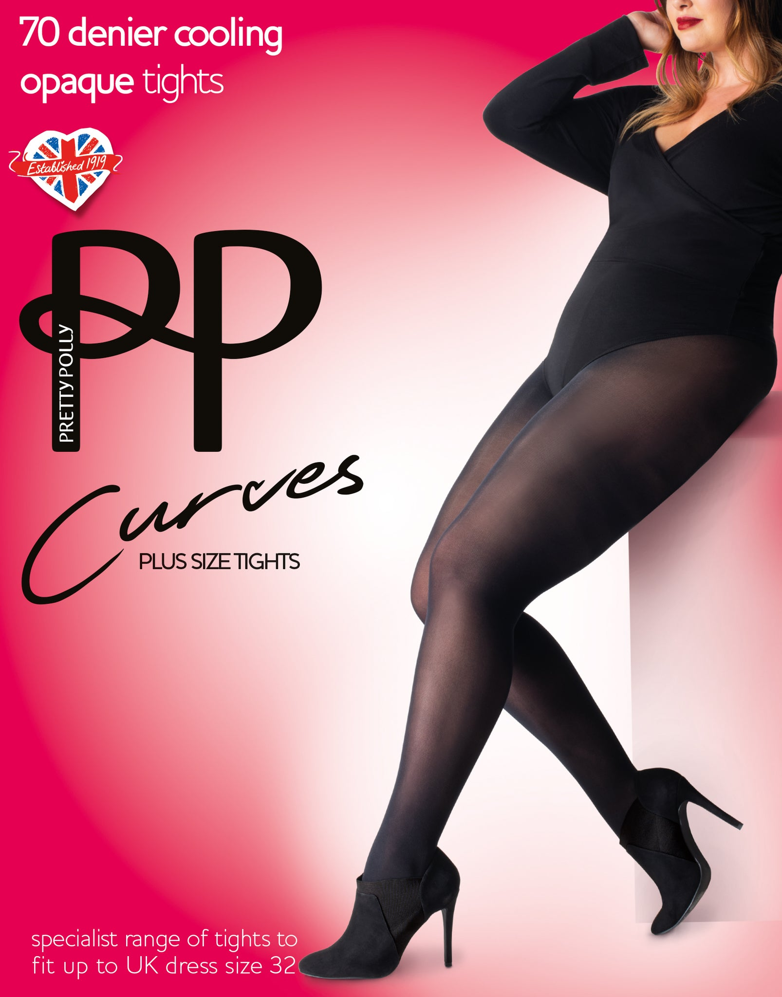 Pretty Polly Curves-70 Denier-Opaque Tights-Black