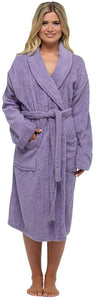 Ladies-100% Cotton Towelling Robe-Lilac