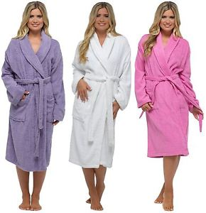 Ladies-100% Cotton Towelling Robe-White