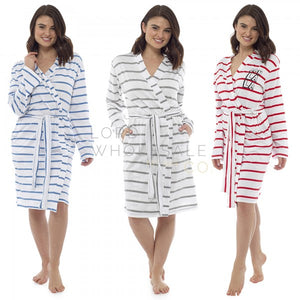 Ladies-Striped Jersey Robe-100% Cotton-Blue Stripe