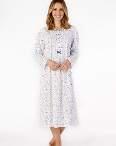 "Slenderella-Ladies-100% Cotton Jersey Nightdress-Floral-45"" Length-Long Sleeve-ND4101"