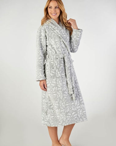 Ladies Flannel Fleece Dressing Gown-Slenderella-HC2351