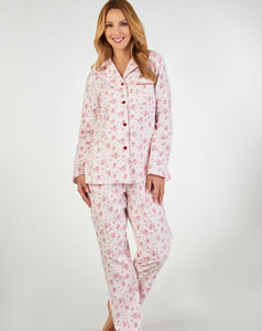 Slenderella-Ladies Luxury Flannel Tailored Pyjamas-100% Cotton-PJ2213