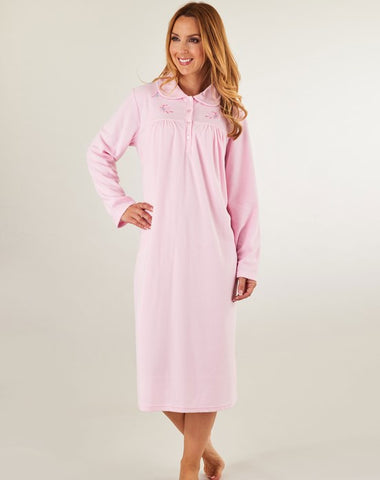 Slendrella-Ladies Long Sleeve Microfleece Nightdress-ND8126