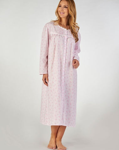 Slenderella-Ladies Long-Sleeve Nightdress-Button Front-ND2202