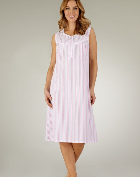 Slenderella-Ladies Seersucker Nightdress-NoSleeve-42''Length-ND3220