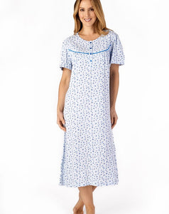 Slenderella-Short-sleeve-Jersey Nightdress-100% Cotton-ND4110