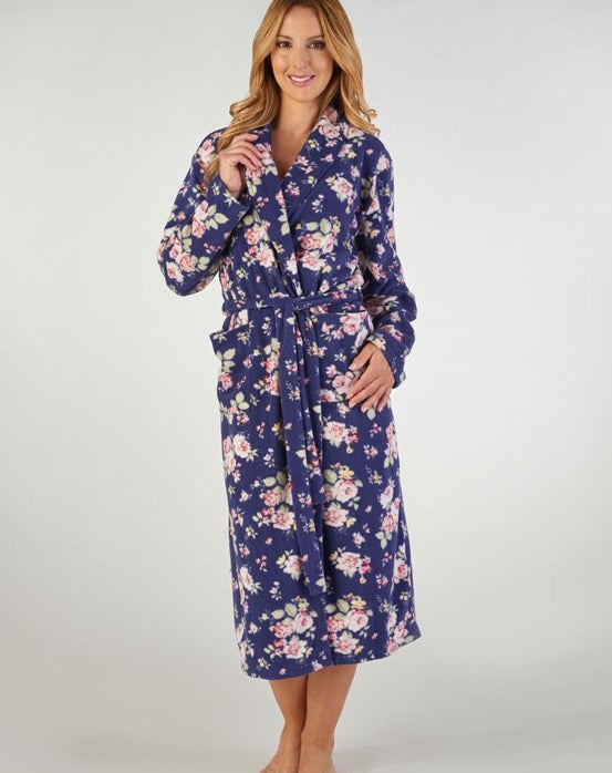Slenderella-Ladies Printed Fleece Dressing Gown-HC2308