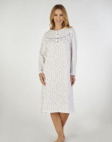 Slenderella-Ladies Long Sleeve Nightdress-100% Cotton-ND2111
