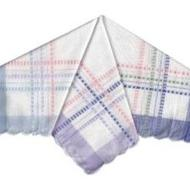 "Ladies-100% Cotton ""Dobby'' Handkerchiefs-Satin Border"