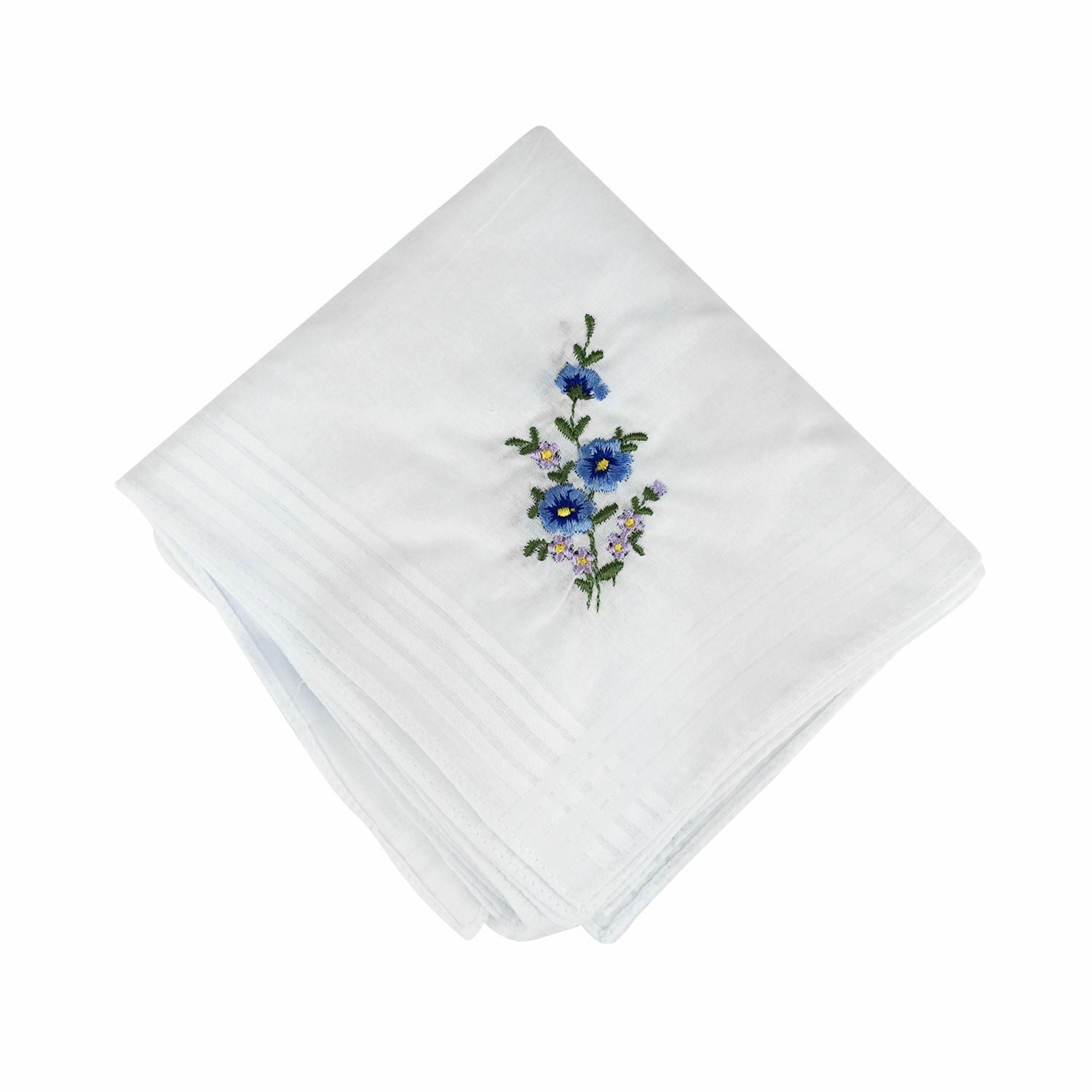 Ladies-100% Cotton Handkerchiefs-Spray Rose Embroidery Detail