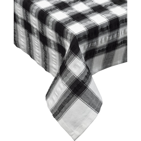 Seersucker-100% Cotton-Tablecloths and Napkins-Black