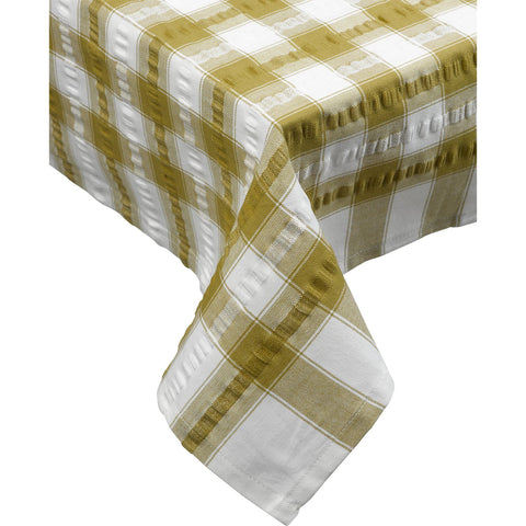 Seersucker-100% Cotton-Tablecloths and Napkins-Coffee