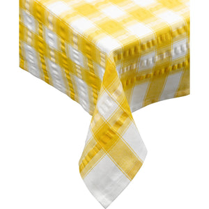 Seersucker-100% Cotton-Tablecloths and Napkins-Gold