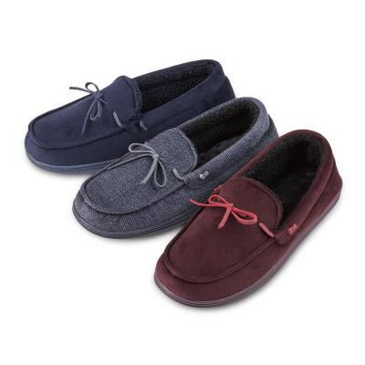 Men's Velour Moccasin Slippers-Totes Isotoner-Style 99287-Grey