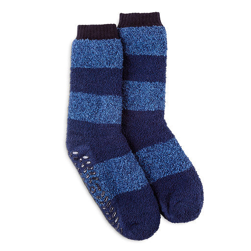 Totes Toasties-Mens Striped Supersoft Socks-3410N