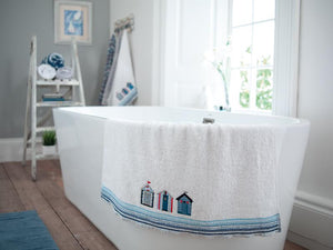 White Cotton Towels-Beach Hut Design-100% Cotton-Assorted Sizes