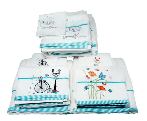 White Cotton Towels-Vintage Bike Design-100% Cotton-Assorted Sizes
