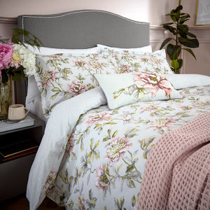 V and A Peony Blossom Duvet Cover Set in Silver